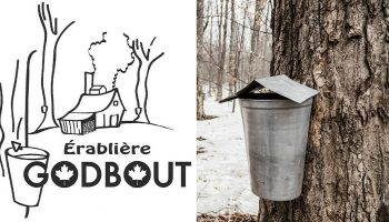 Québec Exquis Découvrir Érablière Godbout avec logo entailles